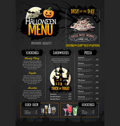 Halloween menu design with jack o lantern vector
