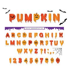 Halloween pumpkin font cute colorful letters vector