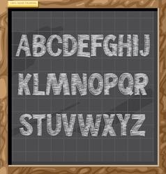 Hand drawn alphabet in white chalk style vector
