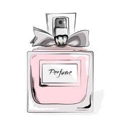 Haute Couture Watercolor Art Card Perfume pink vector