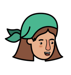 head of woman with bandana avatar character vector image
