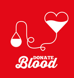 heart bag and drop transfusion donate blood red vector image