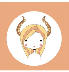 Horoscope Capricorn sign girl head vector