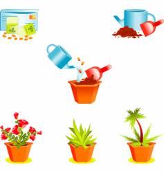 Icons on growing window plants vector