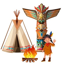 Indian girl and tepee by the campfire vector image
