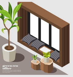 Isometric green office background vector
