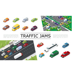 isometric traffic jam concept vector image