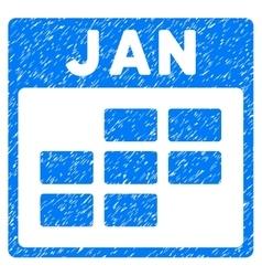 January Calendar Grid Grainy Texture Icon vector