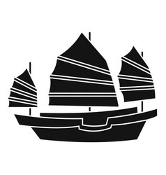 Junk boat icon simple style vector