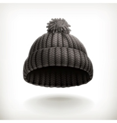 Knitted black cap vector image