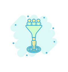 Lead management icon in comic style funnel with vector