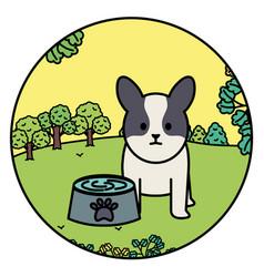 little dog adorable mascot in landscape vector image