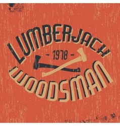 Lumberjack woodsman stamp vector image