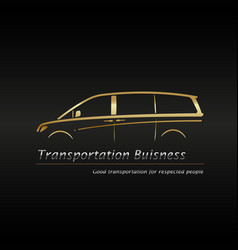 modern gold minivan in black background vector image