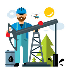 Oil industry flat style colorful cartoon vector
