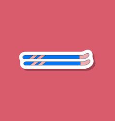 Paper sticker on stylish background ski vector