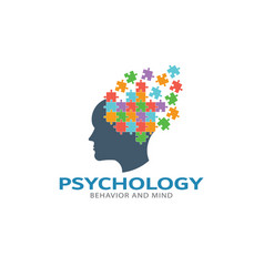 psychology brain puzzle imagination logo vector image