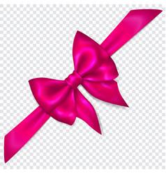 Purple bow with diagonally ribbon vector