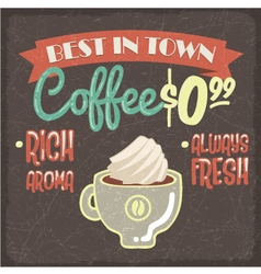 Retro styled grunge poster with fresh coffee vector