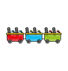 Roller coaster wagons isolated icon vector