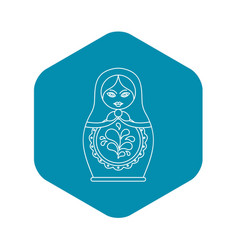 Russian nesting doll icon outline style vector
