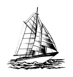 Sailboat sketch vector