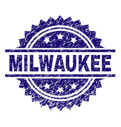 Scratched textured milwaukee stamp seal vector
