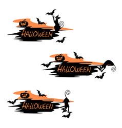 set festive label for halloween vector image