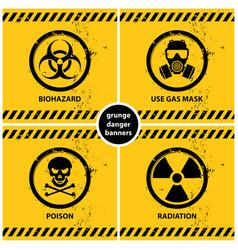 Set grunge danger banners vector