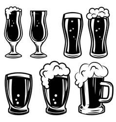 Set of beer mugs design elements for logo label vector