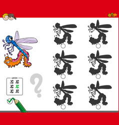 shadow activity game with insect characters vector image