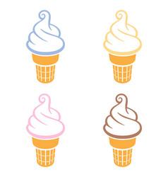 Simple fun soft serve icecreams in waffle cones vector