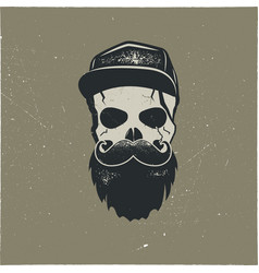 Skull character with blood stains cap vintage vector