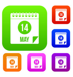 Spiral calendar page 14th of may set color vector