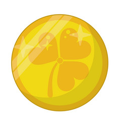 st patricks day gold coin clover vector image
