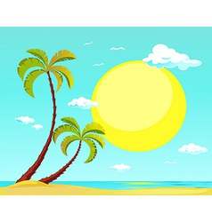 Summer beach with palm tree and big sun vector