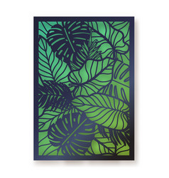 Summer foliage laser cut greeting card vector