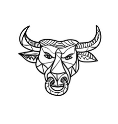 Texas longhorn bull head mosaic vector