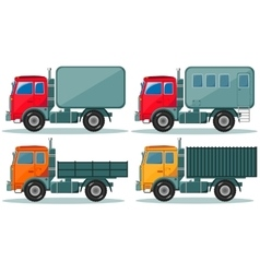 Trucks icons set of vehicles vector