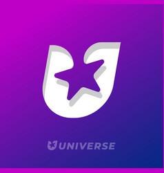U letter star universe logo monogram vector