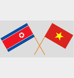 Vietnam and north korea flags vector