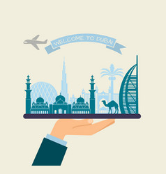 welcome to dubai attractions of uae on a tray vector image