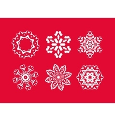 White snowflakes set vector image