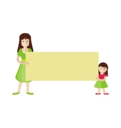 Woman and Girl Holding Blank Message Board vector image