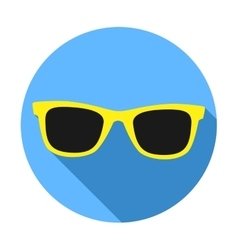 Yellow Sunglasses icon with long shadow Flat vector image vector image