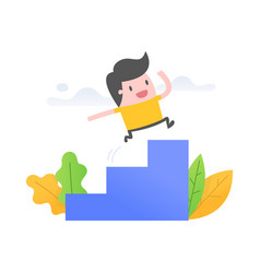 young man running up stairs vector image