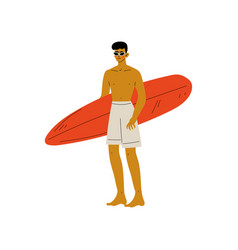 young man standing on beach with surfboard guy vector image