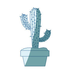Blue shading silhouette with cactus with two vector