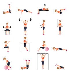 fitness cardio exercise and equipment for woman vector image