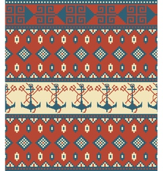 Seamless knitted pattern with anchor vector image vector image